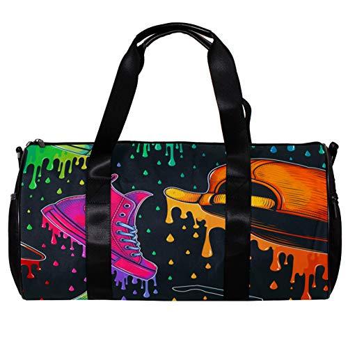 Bolsa de deporte redonda con correa de hombro desmontable y colorido con patrón de zapatos de moda, bolsa de entrenamiento para mujeres y hombres