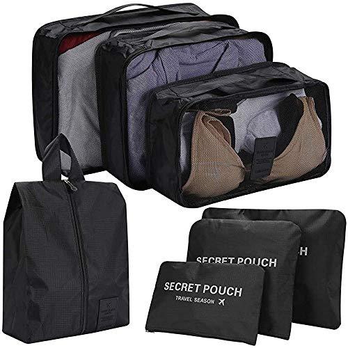 トラベルポーチ 7点セット 衣類仕分け 整理用 収納バッグ アレンジケース スーツケースバッグインバッグ 洗面用具入れ 小物入れポーチ 巾着袋 軽量 防水 大容量 出張 旅行 便利グッズ