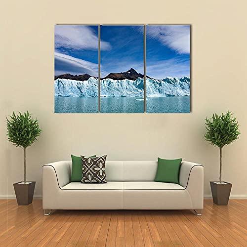Cuadro en Lienzo Glaciar Perito Moreno y Cordillera de los Andes 150X70 Cm impresión de 3 Piezas en Material Tejido no Tejido - impresión artística fotografía Imagen gráfica decoración de Pared