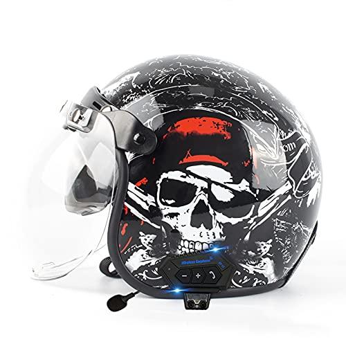 SJAPEX Moto Casco de Moto con Bluetooth,Retro Casco de Moto Abierto para Mujer Hombre,Media Cara Casco de Protección para Motocicleta Scooter ECE Certificado Half Helmet C,XXL=61~62cm