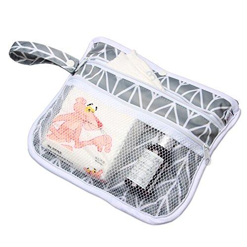 LUXJA Luxja 防水オムツ替えシート ポケット付き 持ち運びカンタン 外出用 家用 グレーの矢