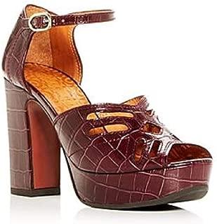 Women's Kenya Croc-Embossed Leather High-Heel Platform Sandals Grape Size 8.5M
