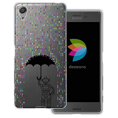 dessana Androiden Sci Fi transparante beschermhoes mobiele telefoon case cover tas voor Sony, Sony Xperia X, Robot Cijfers regen