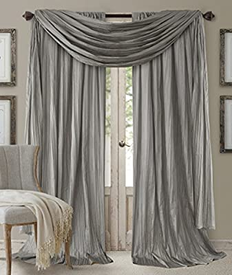 "Elrene Home Fashions 26865855173 Window Curtain Drape Rod Pocket Panel, Set of 3, 52"" x 84"", Sterling, 52""x84"" (2 1 Valance"