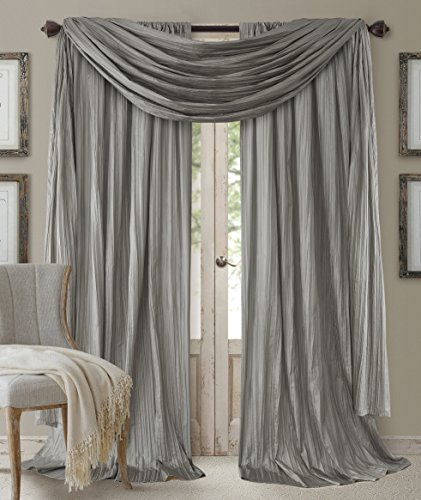 Elrene Home Fashions 26865855173 Window Curtain Drape Rod Pocket Panel, Set of 3, 52 x 84, Sterling, 52x84 (2 1 Valance