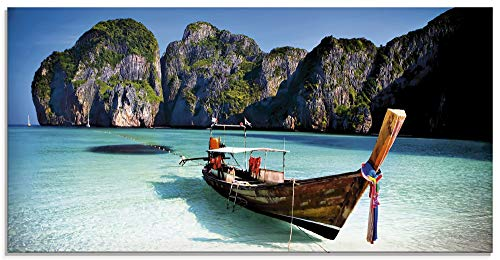Artland Glasbilder Wandbild Glas Bild einteilig 100x50 cm Querformat Strand Meer Südsee Boot Thailand Maya Bay KOH Phi Phi Felsen Natur T5VI