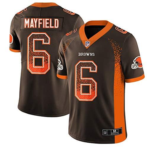 Herren T-Shirt American Football Cleveland Antonio Browns Mayfield #6 Antonio Brown Fußballtrikot Jugend Training Trikots Gruby Tee Shirts Gr. L, braun