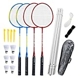 Airsnigi Badminton Rackets Set-4 Person Badminton Set with Net for Garden Easy Setup