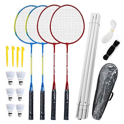 Airsnigi Badminton Set Mit Netz für Garten - Badminton Set 4 Schläger, Federballset für Kinder Familie Erwachsene, Badmintonschläger Set