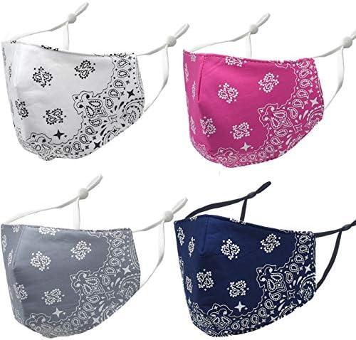 Women Men Face Cover Bandana Cotton Fabric Mask Half Face Protective White Fashion Soft Paisley product image