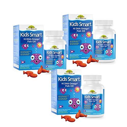 Real Health Bioglan Kids Smart Omega 3 Fish Oil, 30 Chewable Burstlets (Pack of 3)