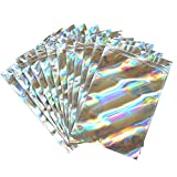 100-pack Smell Proof holographic Bags Resealable Mylar packaging Bags decorative baggies for jewelry lip gloss candy etc (color-1, 3.54''x6.30'')