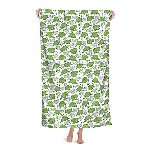 Frogs And Water Lily Royalty (2) Toalla de playa 80 cm x 130 cm, suave, ligera y absorbente para baño, piscina, yoga, pilates, manta de picnic