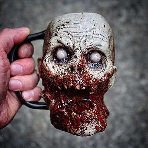 AHURGND Macabre Taza de café, Taza, Taza del cráneo de Nigromancer, Taza de Agua de la Cabeza del Zombi 3D, Zombie, Taza de Cerveza del Estilo del cráneo del Esqueleto, Taza de cráneo de Nigromancer