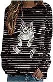 WEDSGTV Camiseta de Rayas con Gráfico de Gato Lindo para Mujer, Camisetas Casuales de Manga Larga...