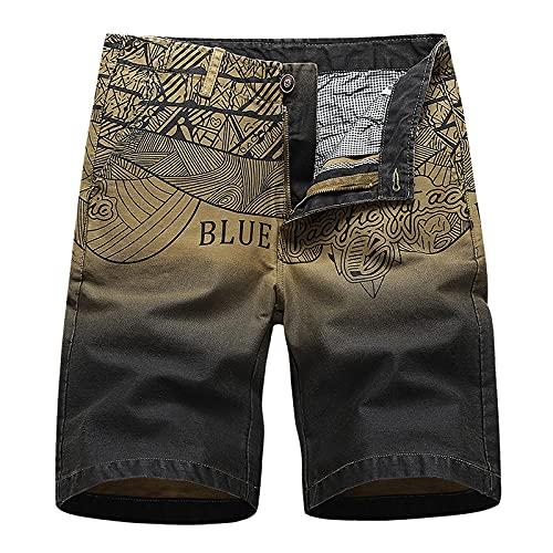 XYYGF 2021TrendyStraight Sports Casual Pants Summer Shorts Cotton Printed Beach Overalls-Khaki_30