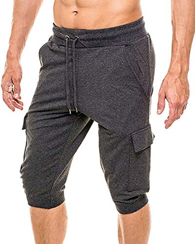 MAGCOMSEN Running Shorts for Men with Pockets Workout Pants Mens Joggers Sweatpants for Men Capri Shorts Below Knee Pants Workout Shorts Gym Shorts Running Pants Joggers for Men Dark Grey