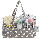 Hinwo Baby-Wickeltasche mit 3 Fächern, tragbarer Auto-Organizer für Neugeborene Dusche Geschenkkorb mit abnehmbarer Trennwand und 10 unsichtbaren Taschen