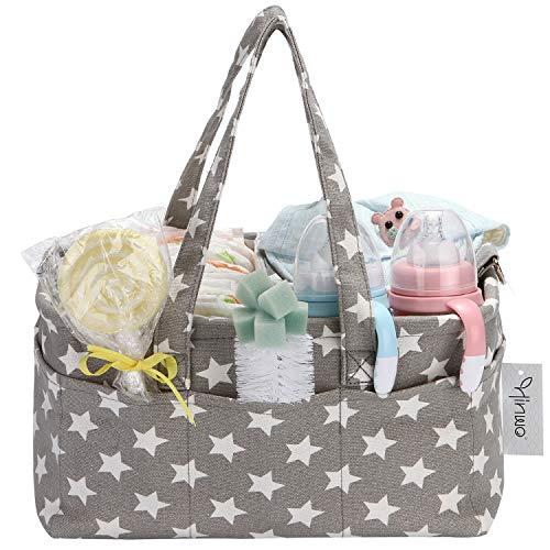 Hinwo Bolsa de pañales para bebé, 3 compartimentos, organizador de coche, cesta de regalo para recién nacidos, con divisor desmontable y 10 bolsillos invisibles