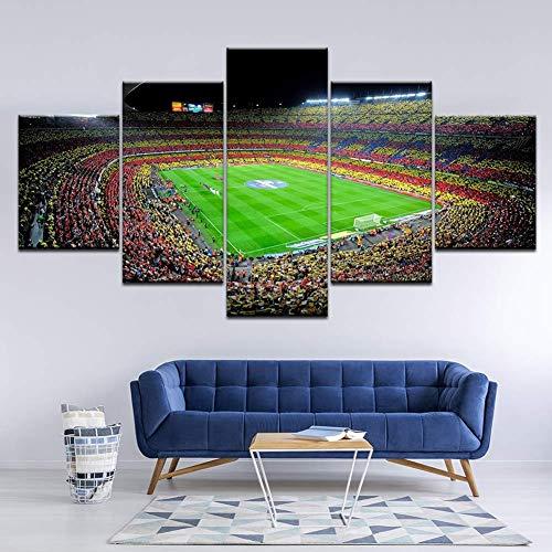 GWFVA Modulaire Canvas Print 5 Stuks Spaans Barcelona Sport Voetbal Behang Print Voor Home Decor Muurschilderingen, A, 30X50X2XXXXX30X80X1