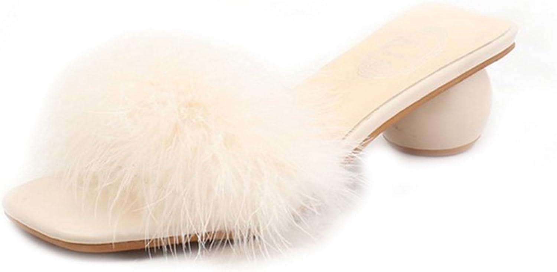 GIY Women's Fashion Clear Fur Block Heel Slide Sandals Open Toe Platform Chunky Low Heel Dress Pump Sandal