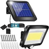Solarlampen für Außen mit Bewegungsmelder, 100COB Solarleuchten für Außen, IP65 Wasserdichte...