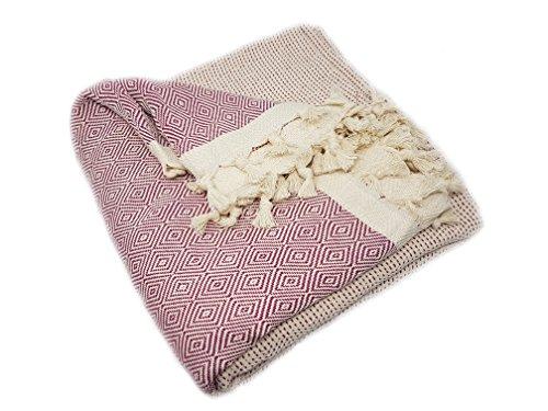 ELMAS Nature Tagesdecke Bettüberwurf Überwurf Plaid Baumwolle 200x250 cm (Beere)