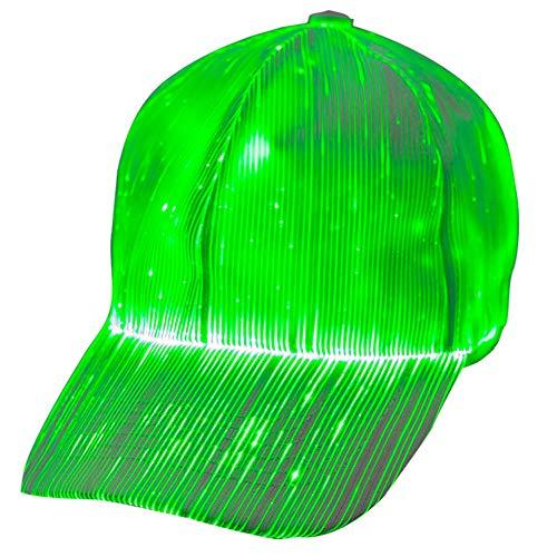 1clienic Luminous LED Baseball Cap 7 Colors Glow Hat Unisex DJ Light Up Rave Fiber Optic LED EDC Hats Rave Concert Fathers Day Men Women Boys