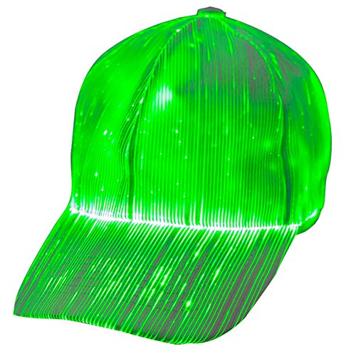 1clienic Luminous LED Baseball Cap 7 Colors Glow Hat Unisex DJ Light Up Rave Fiber Optic LED EDC Hats Rave Concert Father's Day Men Women Boys