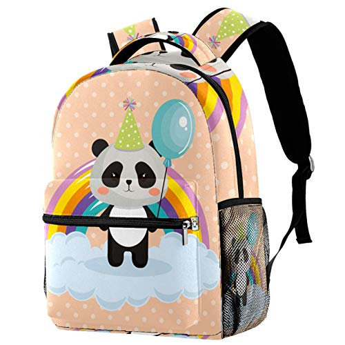 Personalised School Bag for Boys and Girls - Kids School Backpack - Childrens rucksacks for Boys and Girls Rainbow Panda