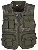 Flygo Mens Mesh Quick Dry Outdoor Work Fishing Travel Photo Vest with Multi Pockets (Large, Army Green)