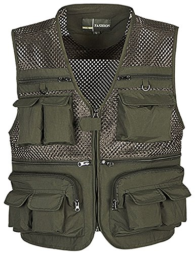 Flygo Mens Mesh Quick Dry Outdoor Work Fishing Travel Photo Vest with Multi Pockets (XXX-Large, Army Green)