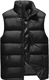 Men Quilted Vest Vest Down Vest Outdoor Zip Vest Winter Vest with Stand-up Collar Active Quilted Padded Puffer Thick Warm ...