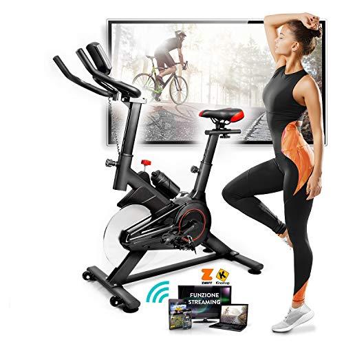 Bici Spinning (Bike Fit) + Cyclette Da Casa, Display LCD Multifunzione, Bluetooth + App ZWIFT e KINOMAP, Resistenza Regolabile, Sensori Pulsazioni, Sella e Manubrio Regolabili, Ruote, New Design