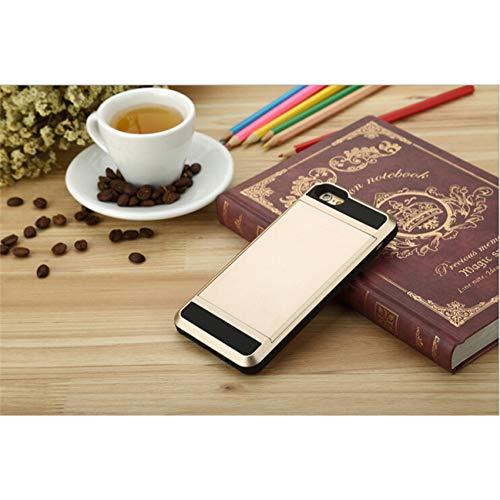 SFJUL mobiele telefoon geval Nieuwe Hybride Tough Card Opslag Armor Case Voor Apple iPhone 8 7 6 6S Plus 5 5S SE Kaarthouder Portemonneehouder Cover voor iPhone X XS Max XR, For iphone 7, goud