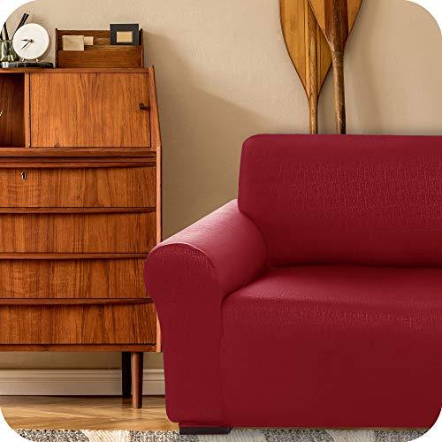 UMI. by Amazon Funda para Sofa Decorativa Suave de Salon Comedor 1 Plaza Rojo Oscuro