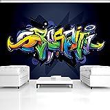 FORWALL Fototapete Vlies - Tapete Moderne Wanddeko Buntes Graffiti auf Marine-Blau V8 (368cm. x 254cm.) AMF1509V8 Wandtapete Design Tapete Wohnzimmer Schlafzimmer