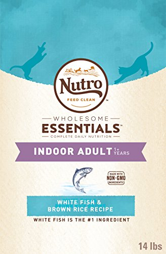 NUTRO WHOLESOME ESSENTIALS Adult Indoor Natural Dry Cat Food for Healthy Weight White Fish & Brown Rice Recipe, 14 lb. Bag
