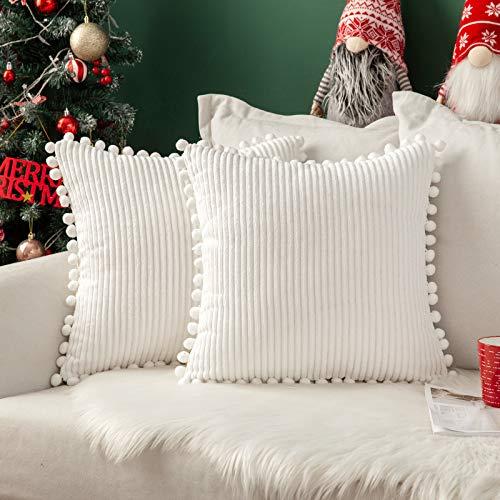 MIULEE 2 Piezas Funda de Cojín Fundas de Almohada Navidad Decorativa Cuadrado Corduroy a Rayas Moderna Suave para Sofá Silla Cama Sala de Estar Dormitorio Salon Habitacion Hogar 45x45cm Blanco Puro