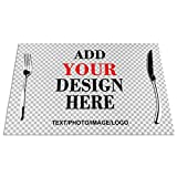 Personalized Placemats, Custom Your Name Photo Text Kids Table Mats, Customized Washable Heat Resistant Place Mats for Kitchen Table and Personalized Pet Food Mat 1Pcs (12X18 inch)