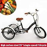 RANZIX 3 Ruote Bici Cruiser, 20' Bicicletta con Cestello per Bicicletta a 3 Ruote per Adulto