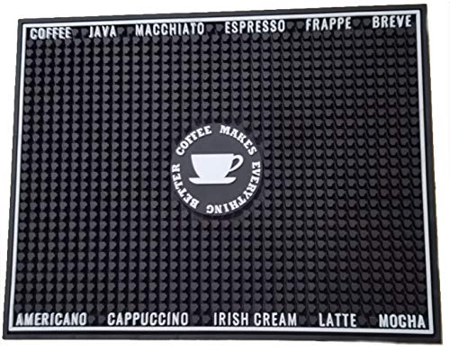 URBN Premium 10mm Thick Non-Slip Coffee Rubber Spill Mat for Countertop or Kitchen Bars, 18in x 14in x 0.4in - Black