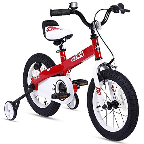 RoyalBaby Boys Girls Kids Bike 12 Inch Honey Bicycles with Training Wheels Child Bicycle Red