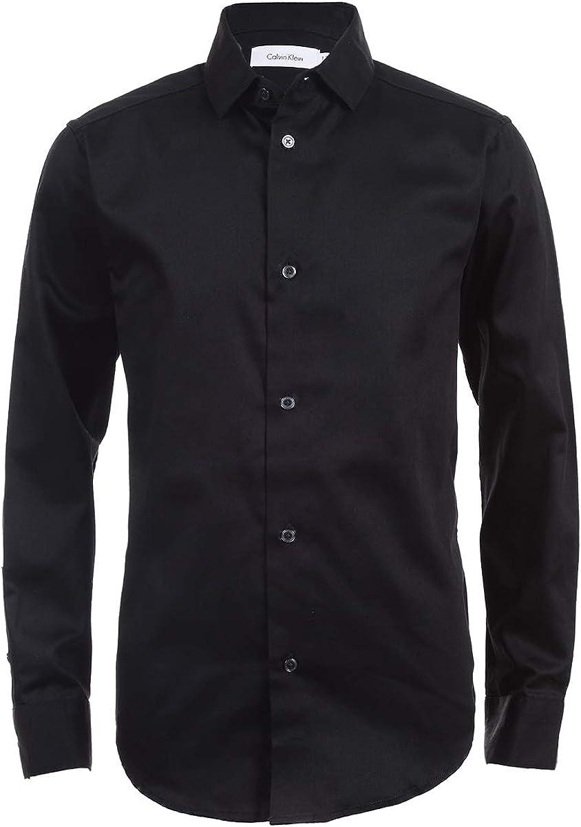 Calvin Klein Boys' Long Dress Sateen In a discount popularity Sleeve Shirt