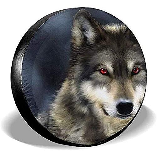 Beth-D Tire Cover Grijs Wolf Rode Oog Waterdichte Zonnescherm Bescherming Reserveband Cover Past Voor Trailer Rv Suv Truck Reizen Trailer Accessoires 14-17inch