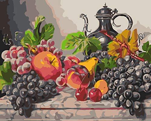 BYSQX Regalo DIY Pintura Al Óleo por Número Kit, Pintura De La Pintura del Copa De Vino De Frutas con Pinceles 30X40Cm Decoración De Navidad Decoraciones Regalos (Sin Marco)