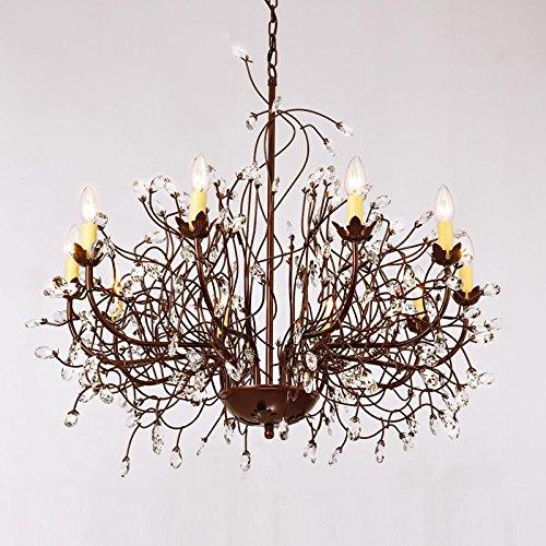Lying Led Crystal Chandelier Type de branche Chandelier Cafe Magasin de vêtements Lustre en fer Retro Villa Salon Lampes de restaurant 10 Head E14 trouver (Couleur : #1)