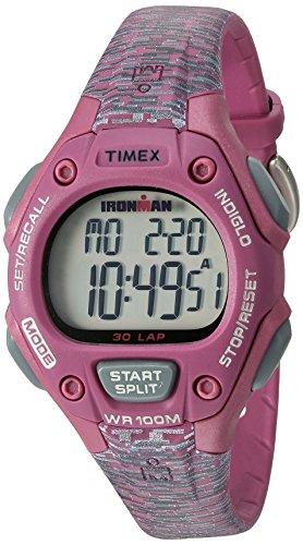 Timex Women's Ironman 30-Lap Digital Quartz Mid-Size Watch, Pink/Gray Texture - TW5M076009J