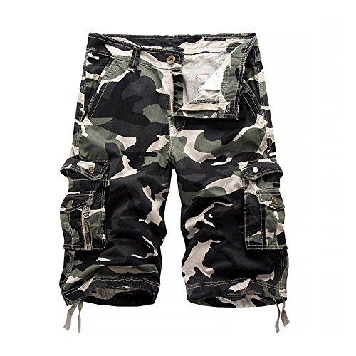 Vertvie Homme Militaire Cargo Short de Loisir Travail Casual Imprimé Camouflage Bermuda Pantalon Court Multi Poches Vintage(FR 44/34 sur l'étiquette,Vert Armé Clair)