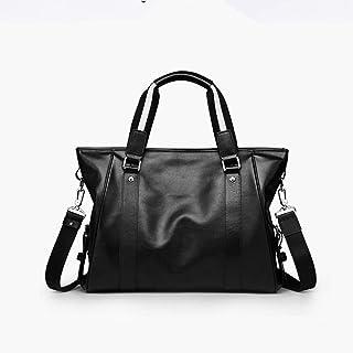 Mens Messenger Bag Vintage Diagonal Cross Bag Leather Briefcase Travel Computer Men's PU Handbag (Color : Black, Size : Free Size)
